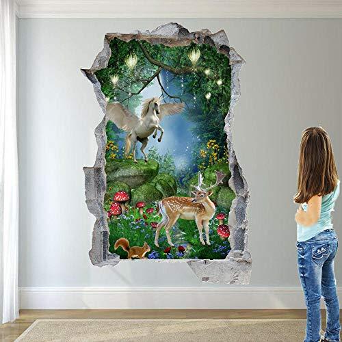 Pegatinas de pared Bosque ciervo rojo etiqueta de la pared 3D cartel adhesivo mural