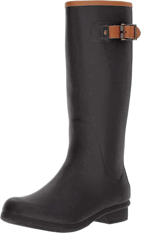 Chooka Women's Tall Memory Foam Rain Boot, Black, 6