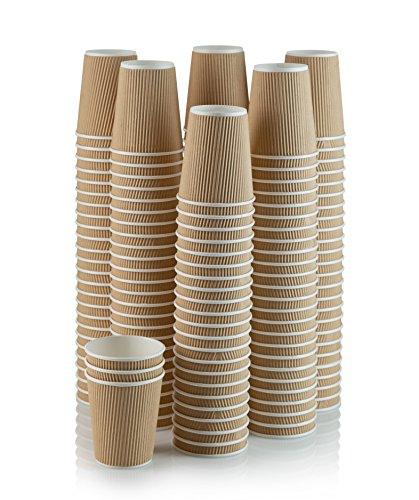 Set of 150 Ripple Insulated Kraft 12-oz Paper Cups