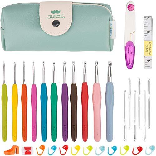 Luxebell Häkelhaken Set Bunte Ergonomische Soft Gummi Comfort Grip Häkeln Stricken Nadeln Kit Haushalt Werkzeug mit tragbaren Tasche (Häkelhaken)