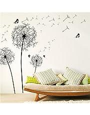 WandSticker4U® - Muursticker Pustbloemen II zwart I muurschilderingen: 135 x 132 cm I wandsticker bloemen paardenbloem vlinders bloemen planten I decoratie voor woonkamer slaapkamer groot