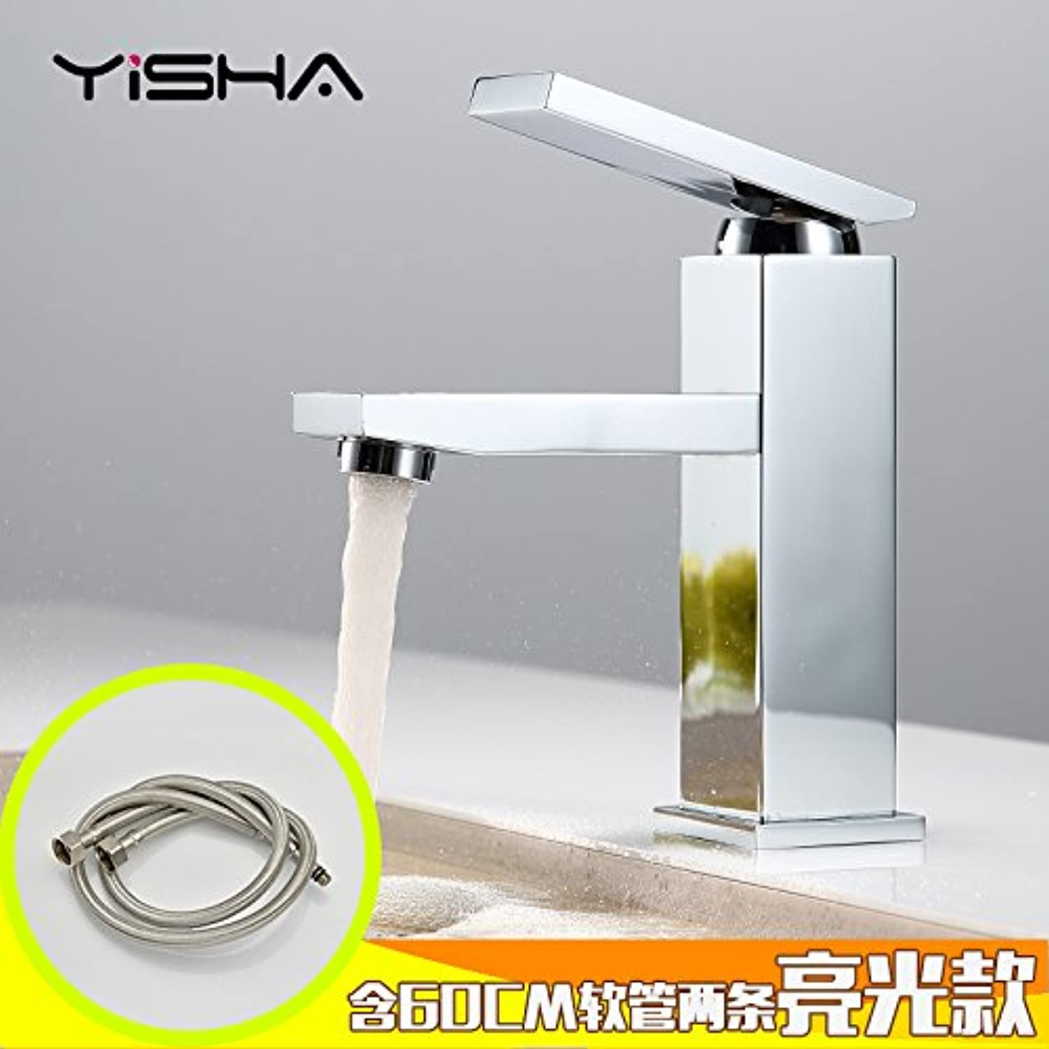 Maifeini Copper Basin-Wide Hot And Cold Faucet Single Handle Single Hole Bathroom Sink Heightened Above Counter Basin Faucet,Square Low Table Leading-Light