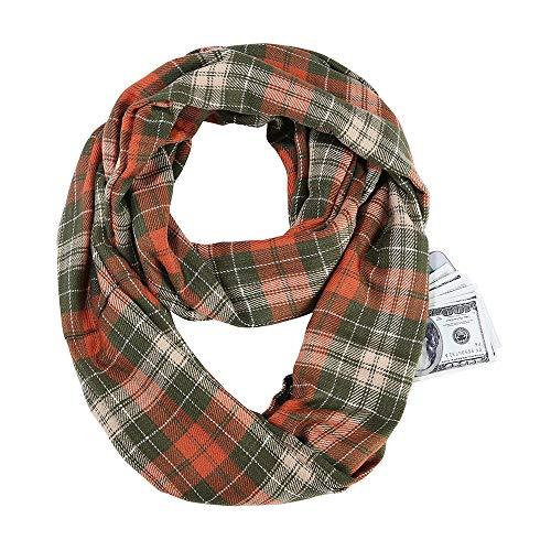 Songqiang Écharpe à carreaux Infinity Wrap caché à glissière sac chaud Wrap femmes avec mystère caché à glissière sac Infinity Voyage foulard femme Homme-Brown_26 * 49cm