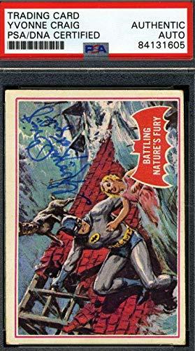 Yvonne Craig Coa Hand Signed 1966 Batman Card #23a Autograph - PSA/DNA Certified - TV Trading Cards