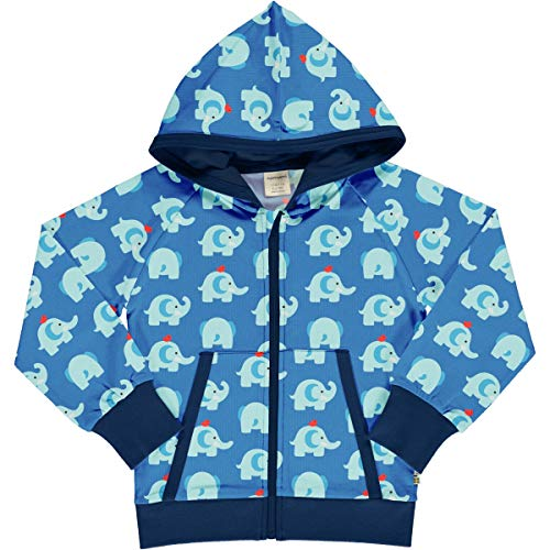 maxomorra Sweatjacke mit Kapuze/Biobaumwolle/blau mit Elefanten 86-92