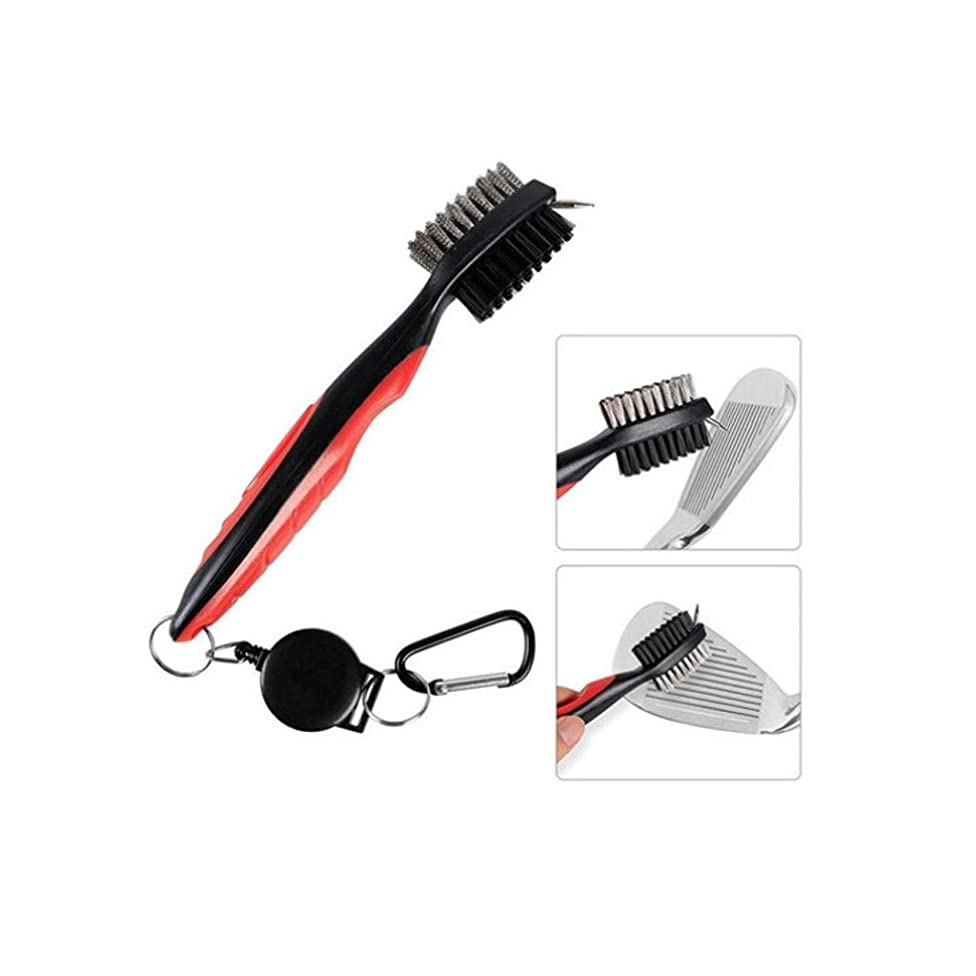YAYUMI Golf Club Cleaning Brush & Groove Cleaner with Retractable Reel 19cm