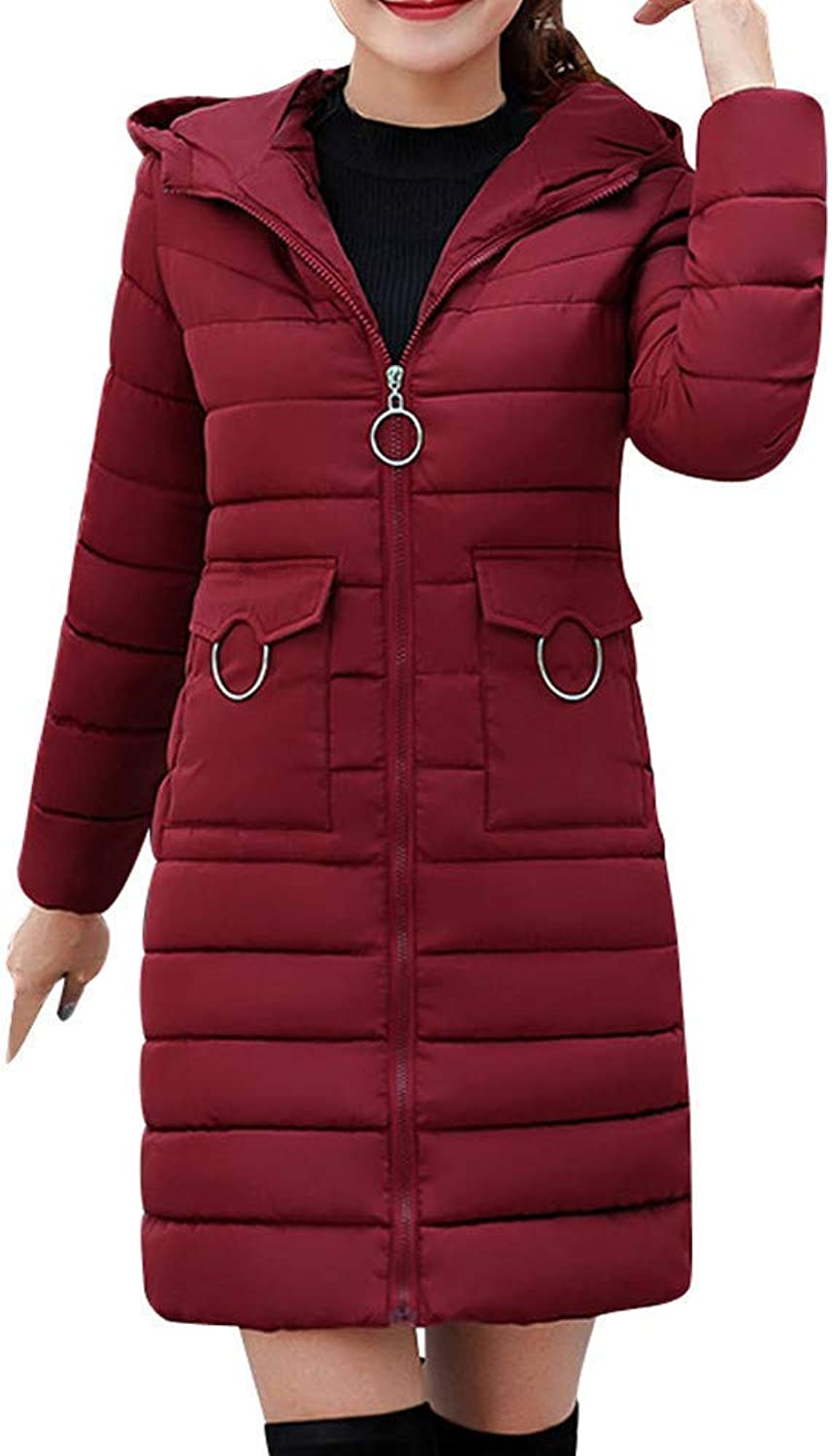Women Winter Warm Coat Hooded Thick Warm Skinny Jacket Long Sleeve Coat Fashion Leisure Cosy Wild Tight Super Quality for Womens (color   Wein, Size   XXL)