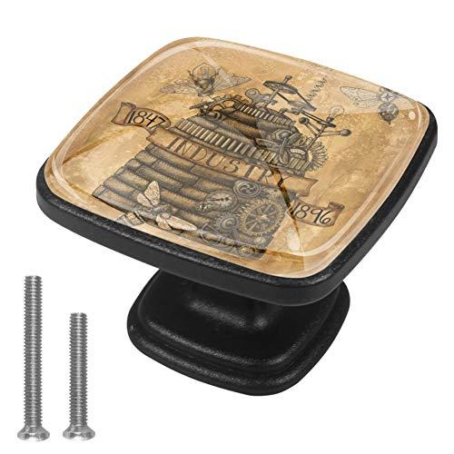 4 Stück Schrankknäufe Bienenkorb, Steampunk-Druck, Schubladengriffe für Küchenschrank, Badezimmer, Schrank, Kommode, quadratisch (30 mm)
