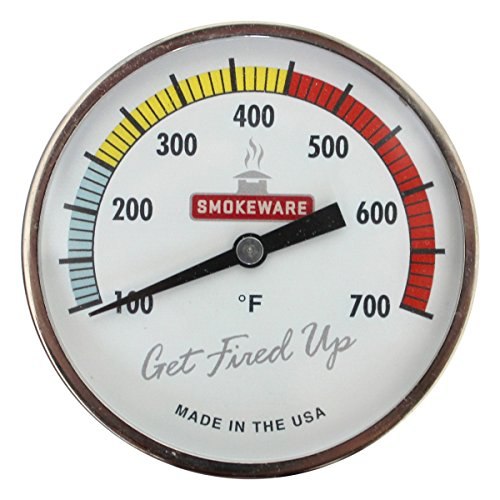 SmokeWare Temperature Gauge – 3-inch Face, 0-700°F Range, Multi-Color White, Replacement Thermometer for Big Green Egg Grills, Made in The USA