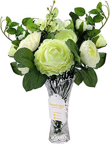 Love Bloom Blumenstrauß Künstlich Weiß mit Glas Vase - Kunstblumen Butterblume Seidenblumen Blumenstrauß Kunstpflanzen Blumenarrangements für Hochzeit, Tischdeko, Künstliche Blumen, Party Deko Blumen