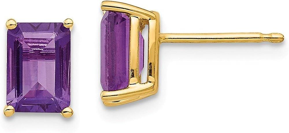 14k Yellow Gold 7x5mm Purple Amethyst Post Stud Earrings Birthstone February Gemstone Fine Jewelry For Women Gifts For Her
