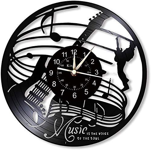 KingLive - Reloj de pared de vinilo para pared, diseño de música con texto 'La música', color negro (no LED)