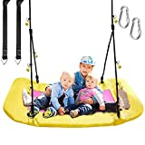 PACEARTH Giant Platform Tree Swing for Kids and Adults, Durable Swing with Steel Frame, Multi-Strand Ropes and Hanging Straps, Flying Saucer Swing Support 660lbs for Outdoor Backyard