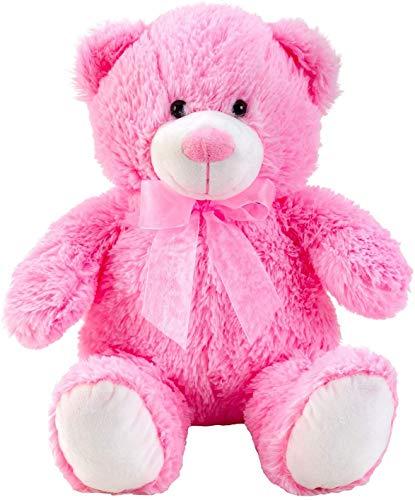 Lifestyle & More Teddybär Kuschelbär rosa mit Schleife 50 cm groß Plüschbär Kuscheltier samtig weich - zum liebhaben