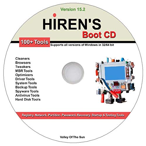 Hiren's Boot CD 15.2 Registry Network Partition Passwort-Recovery Startup Testing Reparatur MBR Optimizer Treiber Backup Access, Spyware-Festplatte & viele andere System-Tools für Windows