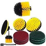 12 unids/set accesorios de cepillo de taladro juego de almohadillas de fregado almohadillas de pulido de esponja cepillo de fregado eléctrico con kit de almohadilla de pulido de coche largo extendido