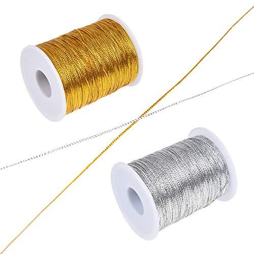 Kare & Kind metallic antislip koord - 2 spoelen (1 goud en 1 zilver) - 520 M totale lengte - 1 mm dikke sieradendraad - kerstversieringen, geschenklabels - linten, kunst, ambacht, sieraden, naaien
