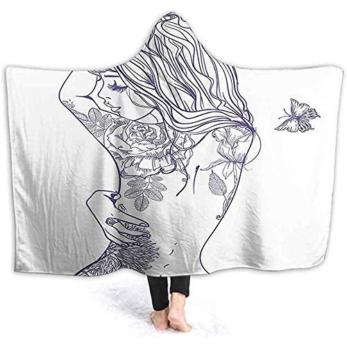 Henry Anthony 60 X 50 Zoll Kapuze Decke, junges Mädchen mit Tätowierungen und Schmetterlingen Free Your Soul inspiriert Lange Haare Feminine Komfort Adult kreative Hoo