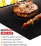 GObbq Grill Mats Non Stick - Heavy Duty Extra Thick 0.4mm 600 Degree, XL 18 x 13 inch (2 Pack) Reusable BBQ Grill Mat for Gas, Charcoal, Electric Grill