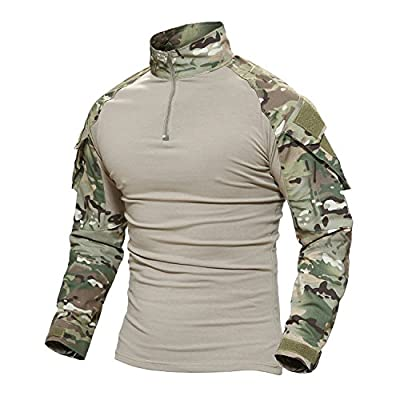 MAGCOMSEN Combat Shirts Men Camo T Shirt with Pocket T-Shirt Fishing Climbing Tshirt Military Pullover T Shirts for Men T Shirts Fishing Shirts Long Sleeve