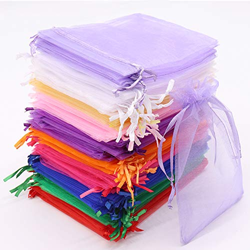 Leeyunbee 100PCS 10x15cm Bolsa de Organza Coloridas, Bolsitas de Organza, Bolsas para Envoltura de Joyas, Bolsas de Organza de Regalo con Cordón para Boda Favores Joyas y Dulces
