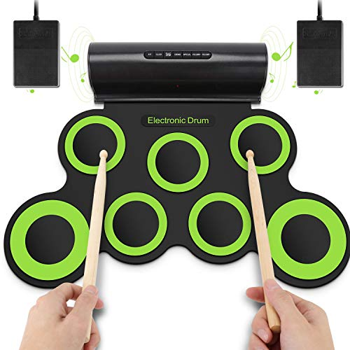 YISSVIC Roll Up Drum Electronic Drum Pads Foldable Digital Electronic Drum with Built-in Speaker 2 Foot Pedals and Drum Sticks for Kids Beginners
