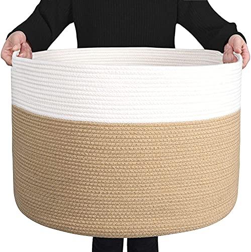 COVAODQ XXX - Cesto in Corda di Cotone per Bambini, con Manici, 55 x 35 cm (Curcuma Bianca)