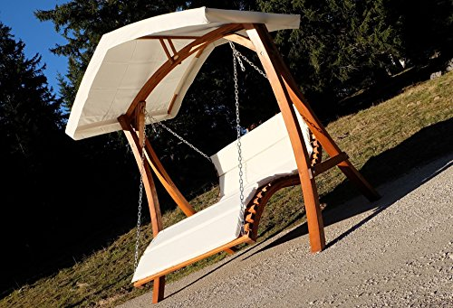 Design Hollywoodschaukel Gartenschaukel Hollywoodliege Doppelliege aus Holz Lärche mit Dach Modell: 'ARUBA' von AS-S - 3