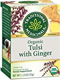 Traditional Medicinals Organic Tulsi with Ginger Herbal Leaf Tea, 16 Tea Bags (Pack of 6)