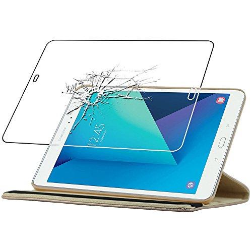 ebestStar - Cover Compatibile con Samsung Galaxy Tab S3 9.7 SM-T820, SM-T825 Custodia Protezione Pelle PU con Supporto Rotazione 360, Dorato + Vetro Temperato [Apparecchio: 237.3x169x6mm 9.7'']
