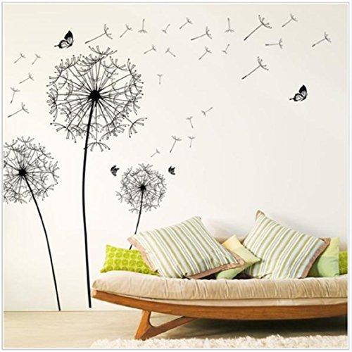 Vovotrade® DIY Home Decor Grand Noir Pissenlit Autocollant Mural Art Stickers PVC Décoration Murale …