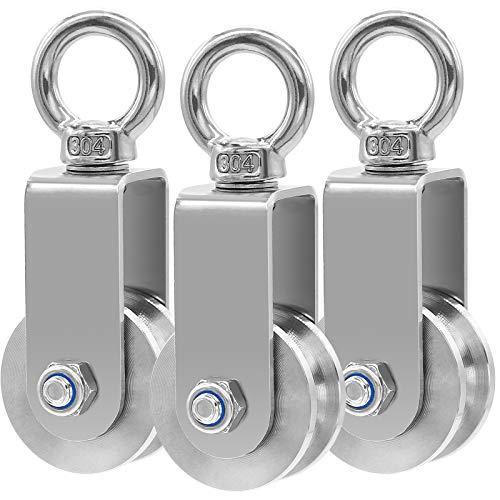 34MM Umlenkrollen mit 2 Kugellager, Seilrolle Fitness Edelstahl 304 Flaschenzug für Seile Stahlseil, Stummschaltung Rad, Tragkraft 250kg, 3PC