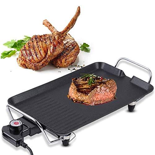 TYUIOO Teppanyaki Grill eléctrico Tabla, Placa de la Barbacoa Pinchos Antiadherente Plancha...