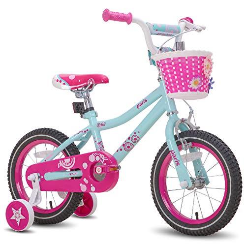 JOYSTAR 18 Inch Kids Bike for 5 6 7 8 Years Girl 45-52?, Children Bicycle with Training Wheels and Hand Brake & Kickstand, Preschool Bike, Mint Green Pink