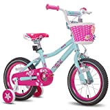 JOYSTAR 18 Inch Kids Bike for 5 6 7 8 Years Girl 45-52?, Children Bicycle with Training Wheels and Hand Brake & Kickstand, Preschool Bike, Mint Green Pink