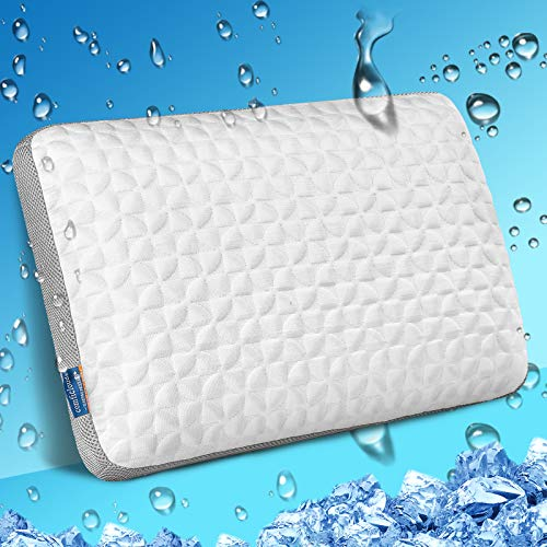 Cooling Memory Foam Pillow Bed Pillows for Sleeping, Ventilated Bamboo Pillow for Side,Stomach and Back Sleepers,Cervical Orthopedic Contour Pillow Neck Pain Relief,Washable Cover Standard Size