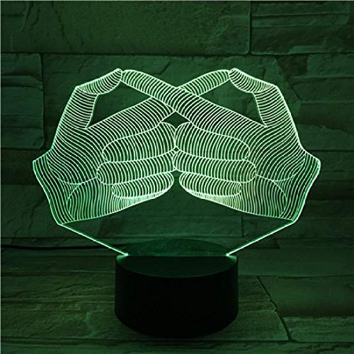 3D Illusion Nuit Lumière Creative Gesture Design Halloween Holiday Gift 3D Illusion Visuelle Night Room Lights Langue Des Signes Cool