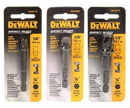 DeWalt 3-pc Socket Adapter Set includes DW2541IR, DW2542IR, DW2547IR