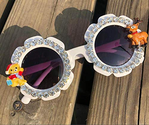 CIDCIJN Childrens Sunglasses,Gorgeous Diamond Baby White Sunglasses Round Shades Party Eyewear Christmas Cartoon Design Handmade Kids Eyeglasses