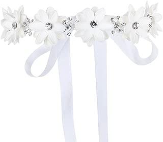FAYBOX Flower Girls Elegant Headband Wedding Floral Hairbands Accessories(White)