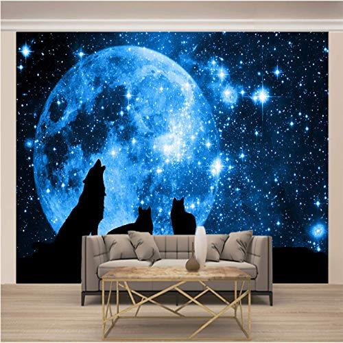 Msrahves posters para pared Azul planeta noche lobo grande Mural TV Fondo Papel de pared Sala de estar Sofá Dormitorio Papel tapiz Papel pintado creativo moderno tejido no tejido