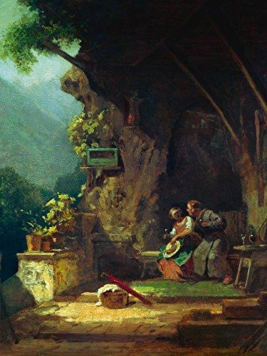 Artland Alte Meister Wandbild Carl Spitzweg Der verliebte Einsiedler Kunst Leinwandbild Romantik Gemälde Kunstdruck auf Leinwand 60 x 45 cm B4KX