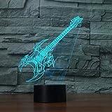 Lampe De Table 3D Led Chambre Bureau Musique Décor À La Maison 7 Changement De Couleur Instruments De Musique Guitare Électrique Veilleuse Éclairage Cadeau