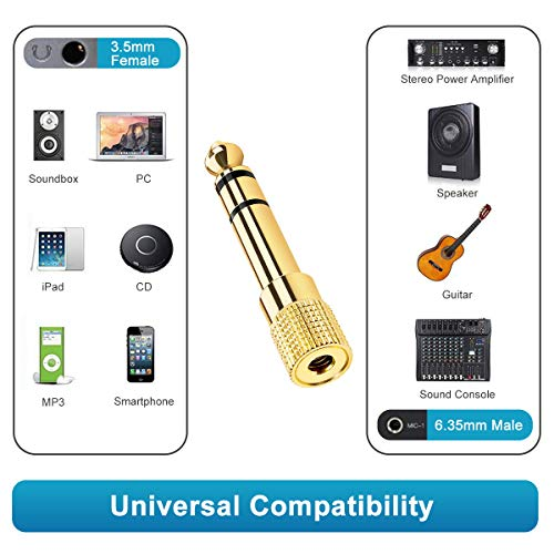 Headphone Jack Adapter, XCOZU 6.35mm 1/4Inch Male to 3.5mm 1/8 Inch Female Jack Headphone Audio Stereo Jack Plug Adaptor Converter Gold Plated-3 Pack