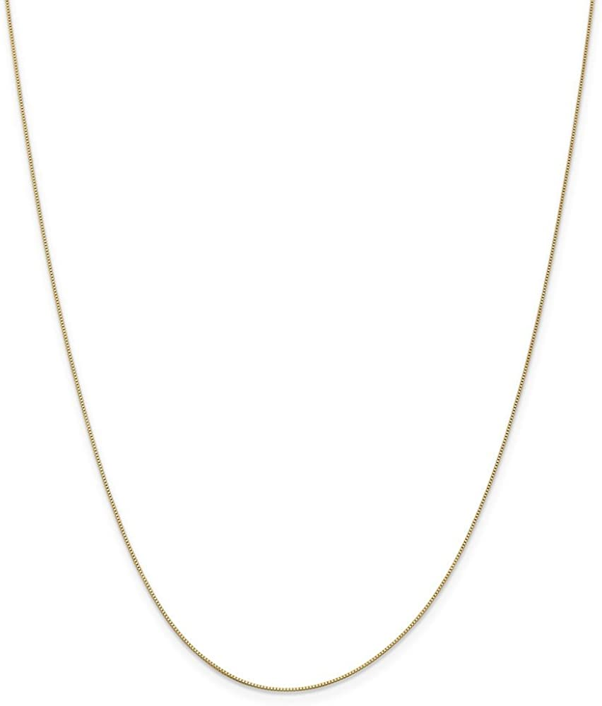 Solid 14k Yellow Gold .5mm Baby Box Chain Necklace - with Secure Lobster Lock Clasp