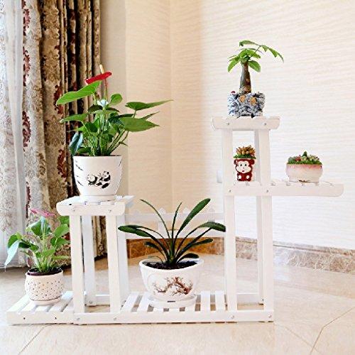 Ensemble de fleurs en bois massif Balcon Ensemble de plantes à plusieurs étages Pots à fleurs Salon Intérieur Plancher pliant L * H: 105 * 74CM (Couleur : Blanc)