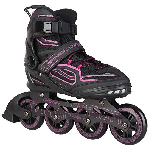 Spokey Kinder und Erwachsene Inline Skates mit verschleißfesten Rädern und widerstandfähigen Bremsklötzen, Taron – Pink, 39
