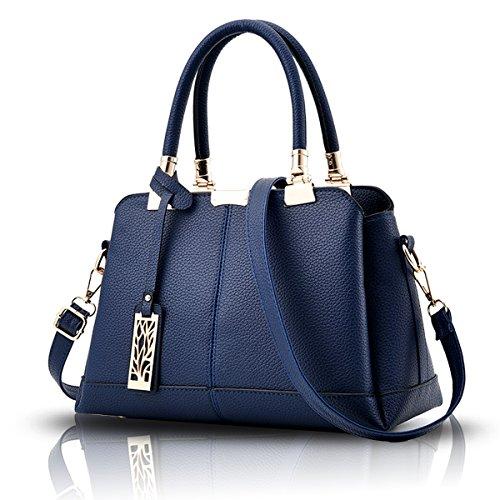 Tisdaini® Damenhandtaschen Mode Schultertaschen Shopper Umhängetaschen Navy blau
