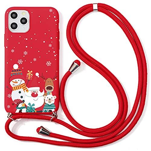 ZhuoFan Navidad Funda con Cuerda para Samsung Galaxy S7 Edge Funda [5.5'] Rojo Carcasa de Silicona Suave Case con Colgante Cordon Colgar Correa de Cuello Antichoque Bumper Cover para Samsung S7 Edge