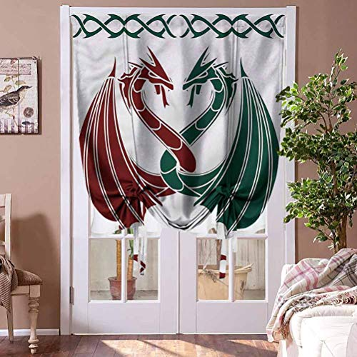 HouseLookHome Roman Curtain Celtic Window Valance Balloon Blind Mythical Dragons Intertwined Home Fashion Window Treatment Rod Pocket Panel, 36' W x 72' L
